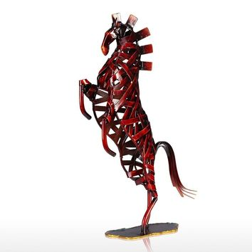 Metal Red Weaving Horse Figurine