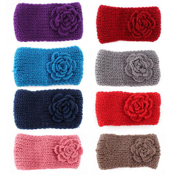 NEW FreeShipping New Knitted Headband Women Crochet Winter Flower Ear Warmer Hairband Headwrap