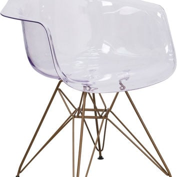 Allan Transparent Dining Side Chair with Gold Frame