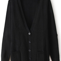 ROMWE | Black Stars Elbow Black Cardigan, The Latest Street Fashion