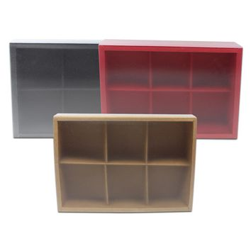 6pcs/Lot Kraft Paper Drawer Box Packaging For Crafts Jewelry Display Divided Grid Gifts Box With Plastic Matte Clear Lid