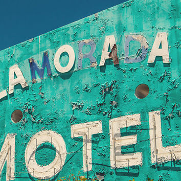 Vintage motel sign, neon sign, Florida Keys, turquoise, aquamarine, neon lights, housewarming, rusty, roadtrip, mid century, retro modern