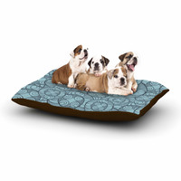 "Maike Thoma ""Layered Circles Design"" Blue Floral Dog Bed"