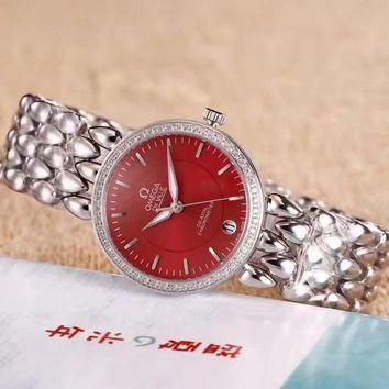 PEAP O042 Omega De Ville Fashion Simple Steel Strap Women Watches Red