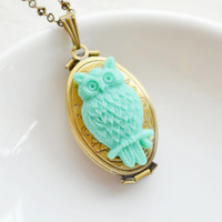 Gold Locket Necklace,Folding Picture Locket,Oval Floral Brass Gold Locket Jewelry,Owl Locket,Cameo Locket,Mint Green Owl Locket Necklace
