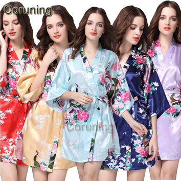 RB013 Women Bathrobes Japanese Yukata Kimono Satin Silk Vintage Robe Sleepwear Plus Size S-XXL 14 Colors Nightgowns