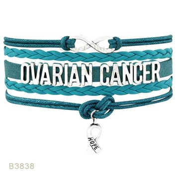 Infinity Love Ovarian Cancer Awareness Ribbon Turquoise Charm Leather Wrap Jewelry