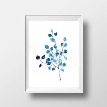 tree leaf branch watercolor painting plant turquoise blue hand painted minimalist leaf print decor botanical wall art decor 4x6 8x10 8x12