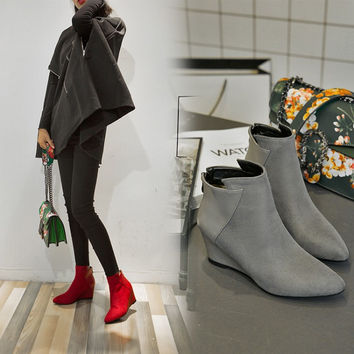 On Sale Hot Deal Winter Korean Pointed Toe Wedge Boots [6366199940]