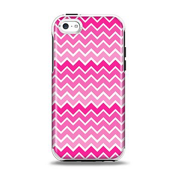 The Pink & White Ombre Chevron V2 Pattern Apple iPhone 5c Otterbox Symmetry Case Skin Set