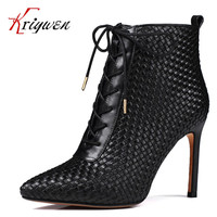 Big size 33-41 New arrival fashion brand design party shoes thin high heels ankle boots genuine leather zipper sexy maritn boots