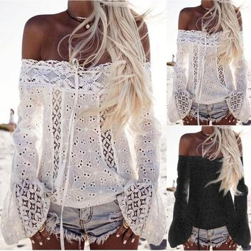 Tassels Patchwork Tops Strapless Lace Long Sleeve T-shirts Loudspeaker [22466068506]