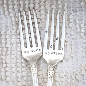 Hand Stamped Wedding Forks - My moon & My stars,  wedding cake forks, engagement gift, first anniversary, bridal shower, wedding registry