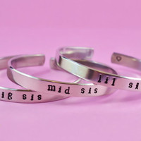 big sis / mid sis / lil sis  -  Hand Stamped Aluminum Cuff Bracelets Set, Newsprint Font, Forever Love, Friendship, BFF