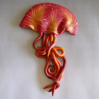 Jellyfish Magnet in Red, Orange, Yellow and Pearl Shimmery Polymer Clay