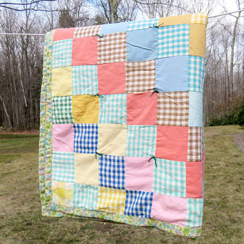 "Vintage quilt coverlet with colorful gingham check and solid squares - Cottage chic decor - cottage chic bedding - Farmhouse decor 77"" x 69"""