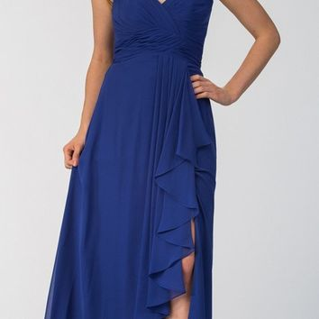 Chiffon Front Slit Long Bridesmaid Gown Royal Blue Strapless