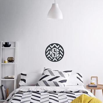 Chevron Monogram Wall Decal Sticker - Monogram - DIY - Removable - Wall Safe - Door Monogram Decal - College Dorm Decal - Bedroom - Nursery
