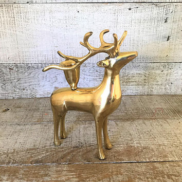 Candlestick Brass Deer Candle Holder Brass Reindeer Candle Holder Deer with Antler Candle Holder Gold Candle Holder Christmas Candlestick