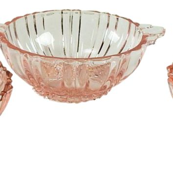 Pink Depression Glass Vintage Desert Bowls - Set of 3