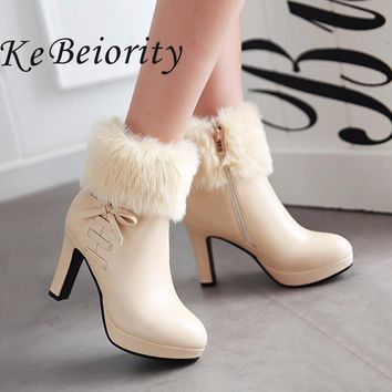 New 2017 high heels boots women autumn and winter boots platform shoes thin heel women black ankle boots heels white shoes