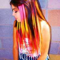 Neon Sunset Ombre Clip In Human Hair Extensions Dip Dye Tye Dye Pink Orange Red