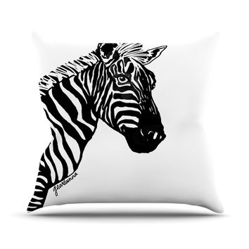 "Geordanna Cordero-Fields ""My Zebra Head"" Black White Outdoor Throw Pillow"