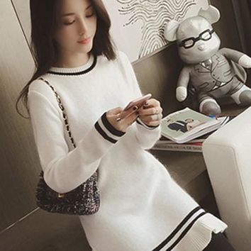 Streetstyle  Casual White Plain Peplum Round Neck Long Sleeve Slim Knit Junior Cute Mini Dress