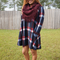 Born To Be Plaid Dress - Navy