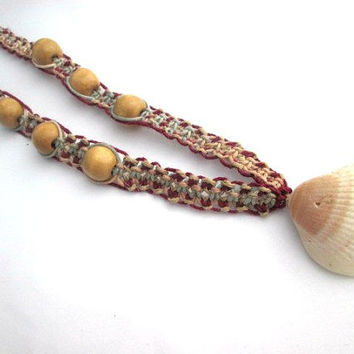 Shell Necklace Hemp Macrame Wood Beads Unisex Hemp Jewelry Beach Necklace
