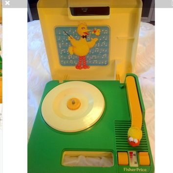 Vintage Fisher Price Big Bird Sesame Street Record Player