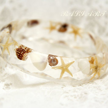 Resin bracelet, bangle resin starfish,  Resin transparent bangle, Resin starfish, faceted bracelet, bracelet sea shells, bangle sea shells