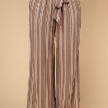 Barefoot And Free Striped Pants (Mocha)