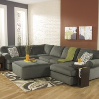 Ashley Furniture 39803-66-34-17 3 pc jessa place collection pewter fabric upholstered sectional sofa with chaise and rounded arms