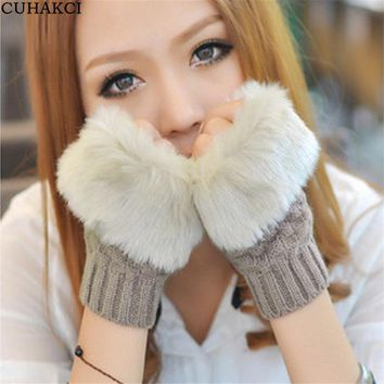 CUHAKCI Elegant Women Fingerless Mittens Knitted Gloves Faux Rabbit Fur Pattern Winter Plaid Short Warm Wool Half Finger Gloves