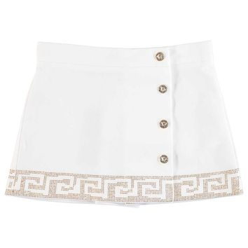 Versace Girls White Greca Skirt