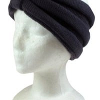 Capelli New York Wide Horizontal Rib Knit Rouched Effect Acrylic Headwrap Black