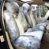 1 Pair Genuine Sheepskin Car Front Seat Cushion Universal Car Seat Covers Compatible Airbag (gray+white)