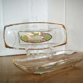 Vintage Georges Briard Fire King Green and Gold Glass Tray, Vintage Prado Glass Relish Dish Set
