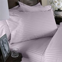 Egyptian Bedding 600-Thread-Count Egyptian Cotton 600TC Sheet Set, Queen, Lavender Damask Stripe 600 TC