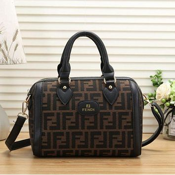 Fendi Women New Fashion More Letter Leather Handbag Shopping Bag Tote Shoulder Bag Black