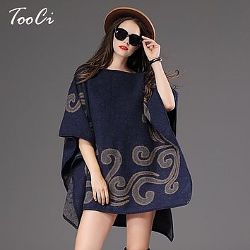 New fashion Fall and winter Women Pullover Sweater Loose Jacquard Pullover women's Poncho Sweater