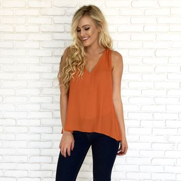 Golden Flame Blouse in Rust