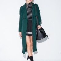 Dark Green Long Trench Jacket