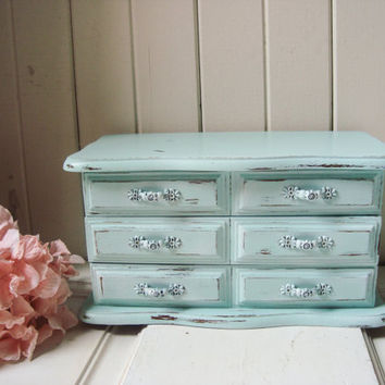 Mint Vintage Jewelry Box, Mint Green Distressed Wooden Jewelry Holder, Vintage Jewelry Chest, Cottage Chic, Pastel Green, Gift Ideas