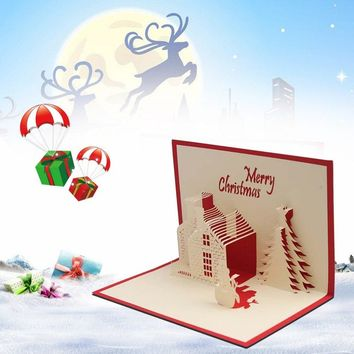 10*15cm 3D Christmas Cards Greeting Handmade Paper Card Santa's Handmade Greeting Cards Christmas Gifts Souvenirs Postcards