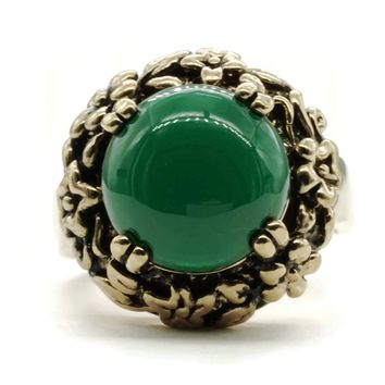 Adjustable Fashion Ring with Simulated Green Agate Stone in Antiqued Gold Tone Floral Setting
