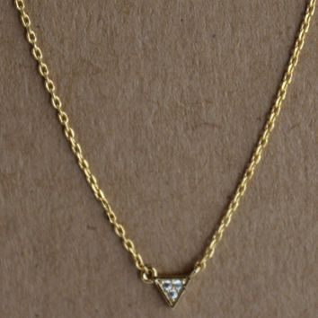 Gold Dainty Triangle Jewel Pendant Necklace
