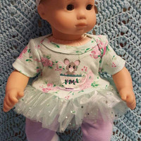 "Baby Doll Clothes ""Teacup Mouse"" 15 inch doll outfit Will fit Bitty Baby® Bitty Twins®  dress, Capri leggings, socks, headband foxes C12"