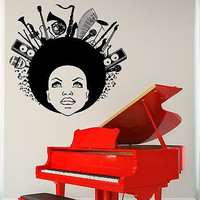 Wall Vinyl Music Black African American Girl Guaranteed Quality Decal (z3514)
